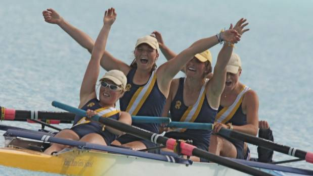 Anna Dawson second from right rowing for Rangi Ruru in her Maadi Cup days