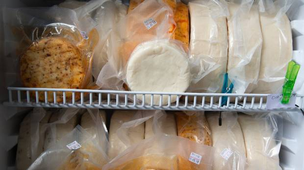 Cheese produced by the couple sits in the creamery fridge awaiting sale.