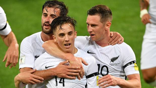 Ryan Thomas celebrates his goal agianst Fiji with All Whites team-mates Shane Smeltz (right) and Tom Doyle.