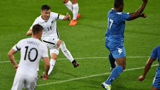 Ryan Thomas fires the All Whites ahead against Fiji on Tuesday.