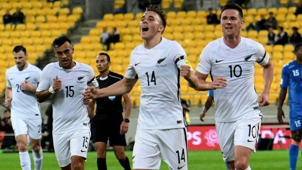 All White Ryan Thomas celebrates one of his two goals against Fiji.
