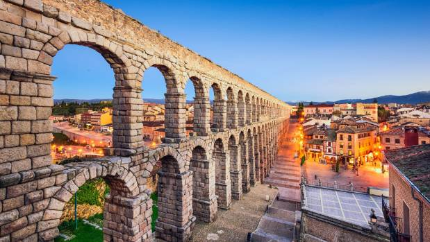 Built in the 1st century, the aqueduct has 166 stone arches set without mortar.