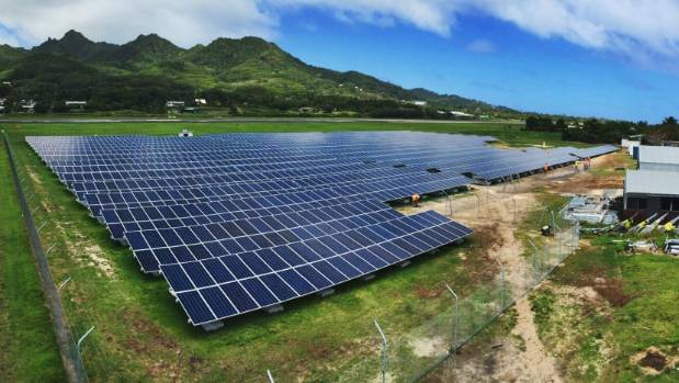A solar farm at Rarotonga Airport built by Infratec. Electricity tariffs are much higher in the Cook Islands than New ...