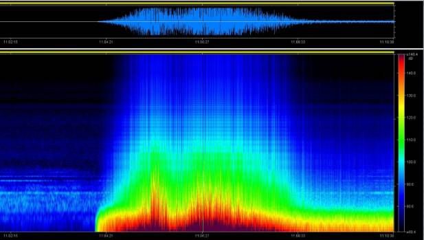 This spectogram image of the November 14 earthquake from Niwa were collected on acoustic moorings that were in Cook ...