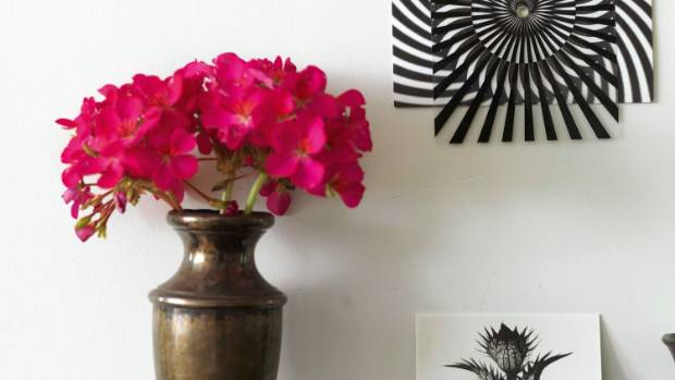 Cerise geraniums in an old metal vase; the black and white optical illusion on the wall was bought at a New York art gallery.