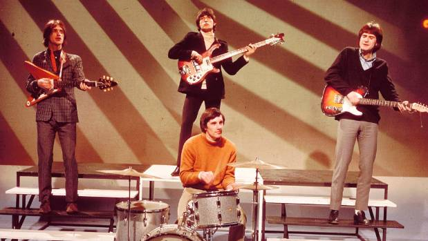 The Kinks, from left, Dave Davies, Pete Quaife (back - playing Rickenbacker bass), Mick Avory (front) and Ray Davies.