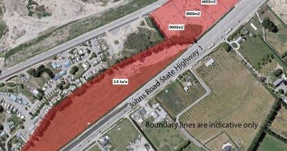 The Environment Canterbury site, in red, on State Highway 1/Johns Rd in Christchurch. A proposed subdivision plan is marked.