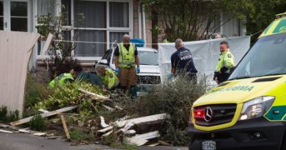 A man died after crashing his taxi into an Avonhead property. It is believed the crash was caused by a medical event.