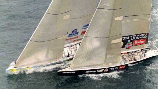 "Team New Zealand's ""Black Magic"" and Dennis Conner's Team Stars and Stripes battle neck and neck at the start of the ..."