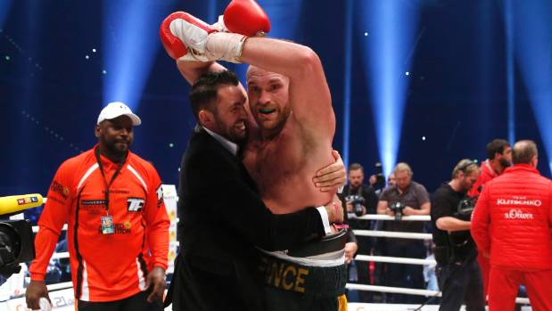 Hughie Fury celebrates cousin Tyson's 2015 world heavyweight championship title bout win over Wladimir Klitschko.