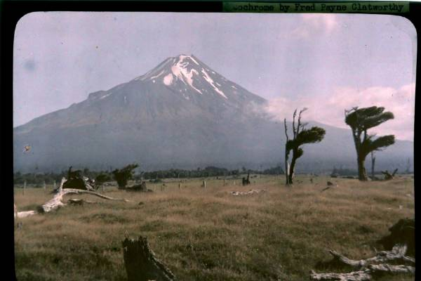 American photographer Fred Payne Clatworthy's autochrome image of Mt Taranaki taken in 1928.