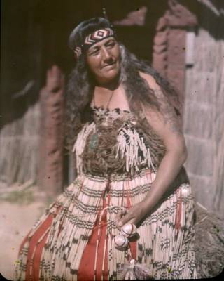American photographer Fred Payne Clatworthy's autochrome portrait of a Maori woman in Rotorua from his 1928 visit to New ...