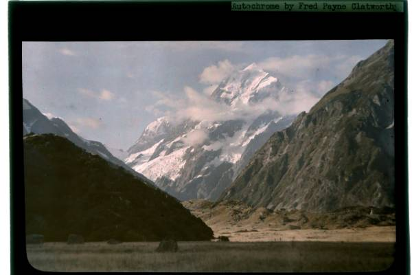 American photographer Fred Payne Clatworthy's autochrome image of Mt Cook from his 1928 visit to New Zealand.