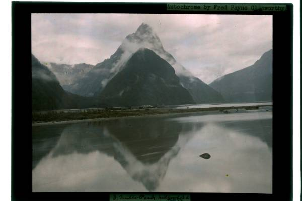 American photographer Fred Payne Clatworthy's autochrome image of Mitre Peak in Fiordland from his 1928 visit to New Zealand.