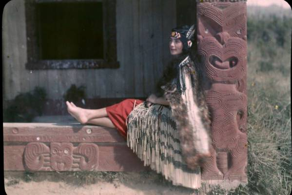 American photographer Fred Payne Clatworthy's autochrome image of a Maori woman in Rotorua from his 1928 visit to New ...