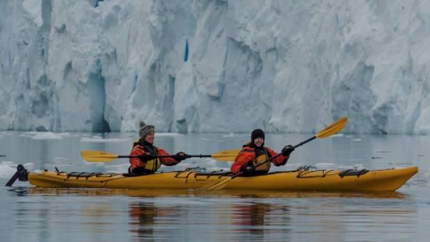 Tracy Hickman kayaks around Antarctica's glaciers and icebergs.