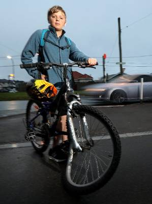 Miguel Ferrer, 11, was hit on a Wellington pedestrian crossing on Monday, leaving his bike's tyre mangled.