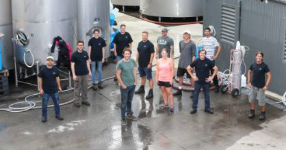 The Allan Scott Family Winemakers harvest crew, with winemaking and viticulture director Josh Scott, centre.