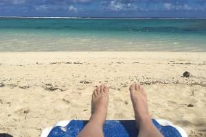 Beck Eleven on holiday in Rarotonga. Yes, tough life...