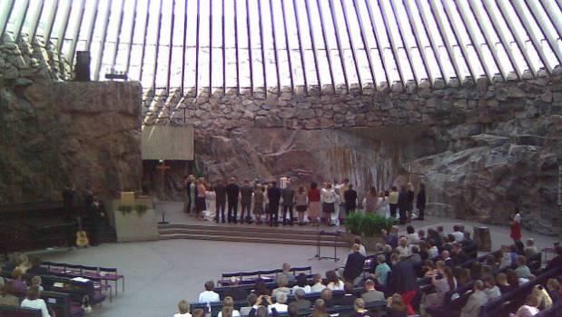 "Temppeliaukio Church, ""The Church in the Rock"" in Helsinki, Finland."