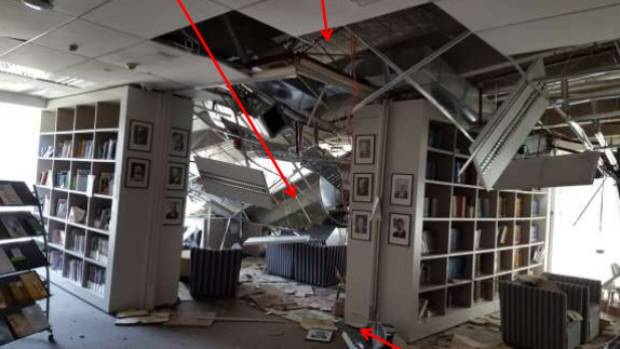 An image from the MBIE report shows damage inside Statistics House.