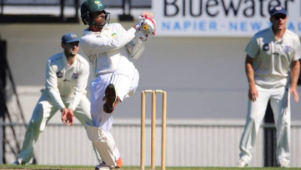 Navin Patel bats during the Plunket Shield match between Central Stags and Auckland Aces at McLean Park, Napier.