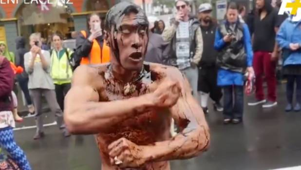 The haka was part of anti-oil protests in New Plymouth.