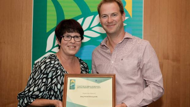 Dog Point Vineyards co-owner Margaret Sutherland and viticulturist Nigel Sowman receive the supreme award at the ...