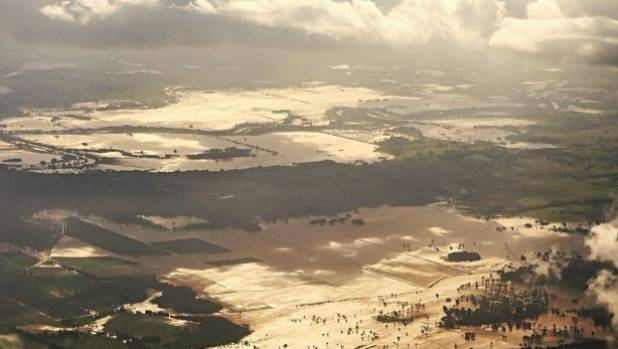 An aerial view of floodwaters near Lismore, NSW.