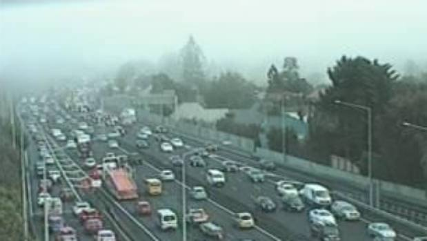 Fog rolling over Auckland's southern motorway in this webcam image from about 8am on Monday morning.