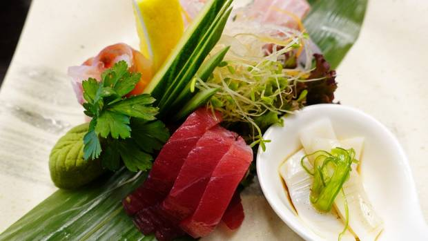 The chef's choice small sashimi platter featured five fish.