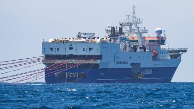 Amazon Warrior, the world's largest seismic survey ship, off the Wairarapa Coast (file photo).