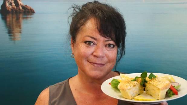 Reni Wereta-Gargiulo of Kiwi Kai with her delicious whitebait pie.