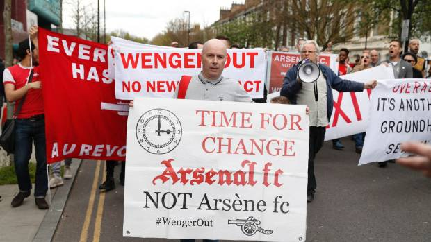 Arsenal fans protested against Arsene Wenger outside Emirates stadium before Arsenal played Manchester City in April.