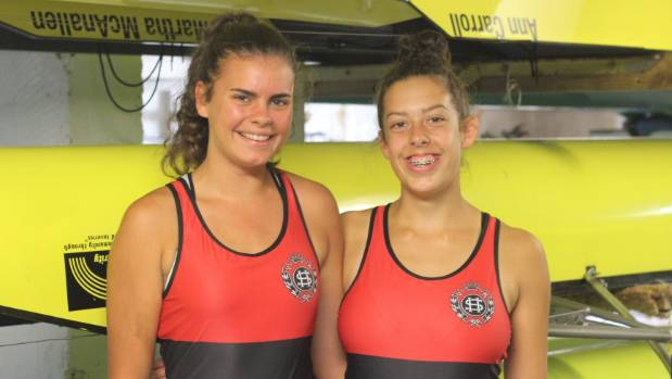 Maddy Devery (left) and Izzy Ahearn (right) at Petone Rowing Club.
