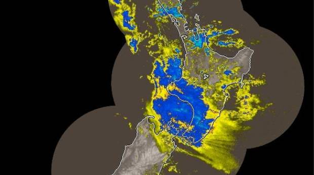 Rain covers a large swathe of the lower North Island in this MetService rain radar image from just before 7am Tuesday.