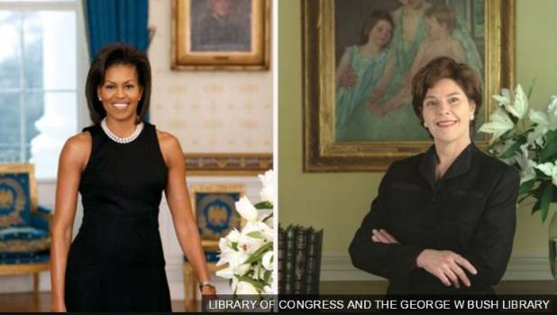 Former First Ladies Michelle Obama and Laura Bush also wore black in their official portraits
