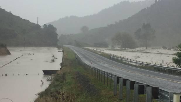 Taranaki's Uruti Valley is flooded as heavy rain hits the North Island.
