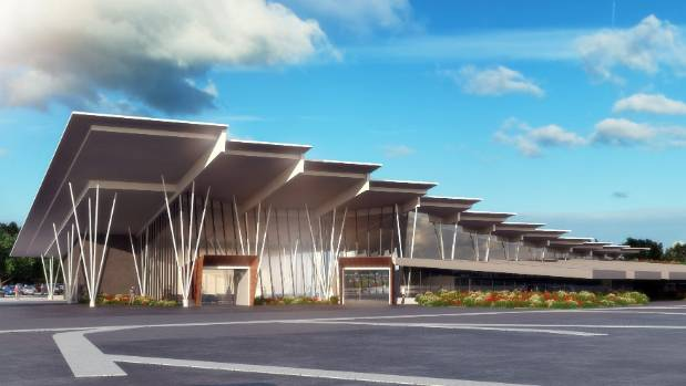 """Drawings of the """"new iconic build"""" option for the New Plymouth Airport expansion."""