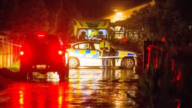 Police and ambulance at the scene where Chozyn Koroheke was killed on Tuesday night.