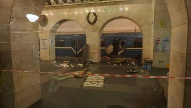 The damaged train carriage from the suicide bombing is seen at Tekhnologicheskiy institut metro station in St ...