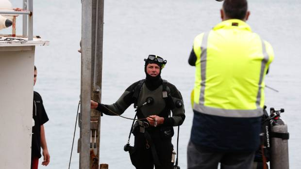 Commercial divers return to the surface after inspecting the submerged vehicle on Monday afternoon. By this stage, they ...