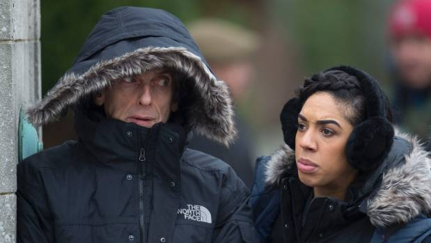 Peter Capaldi with Pearl Mackie as The Doctor and Bill, on Doctor Who.