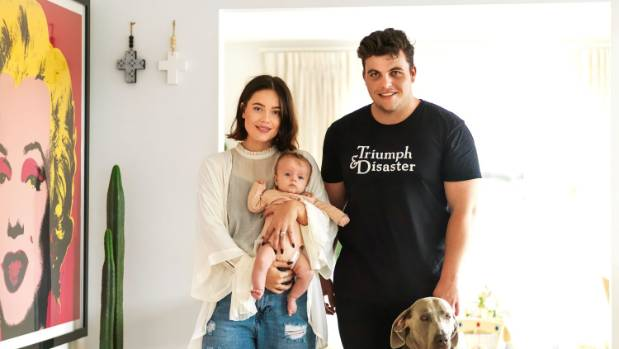 The Plested family in the entrance of their Grey Lynn home; from left, Abby, 23, holds Goldie Grace, five months, Dan, ...
