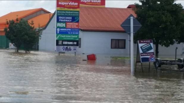 Trouble for Edgecumbe's businesses. The Whakatane District Mayor shared this photo.
