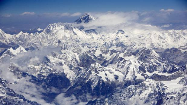 An aerial view shows Mount Everest on the border between Nepal and Tibet.