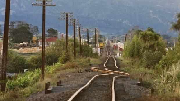 A damaged railway near Edgecumbe in  1987