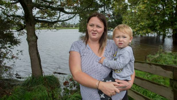 Anna McNiall and Quayde, 1, are worried their Main Drain Rd, Rangiotu, house is going to flood as it did in 2015.