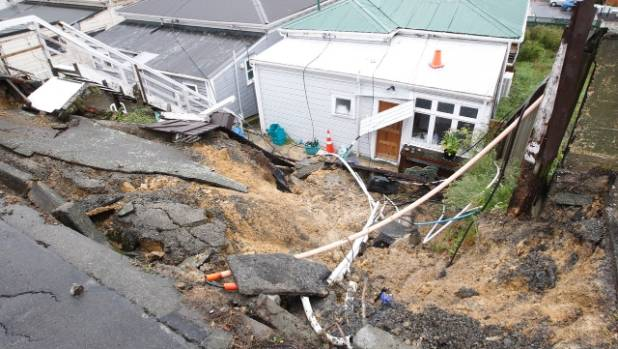 Substantial damage was caused by a slip in the Wellington suburb of Newtown after heavy rain earlier this month.