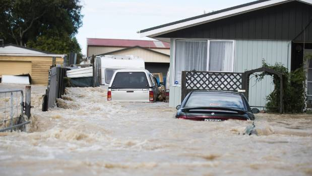 Edgecumbe was left under water after a flood bank breached.
